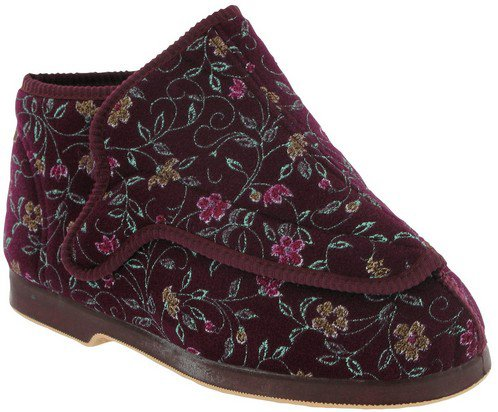 GBS Rhona Ladies Extra Wide Fit Slipper Soft Fabric Washable House Usage Bootees Wine hieAind