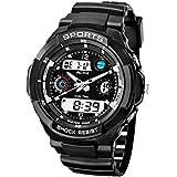 ECOOPRO Men's AK1170B Black Rubber Strap Black-Tone Analog Digital Sport Watch Waterproof