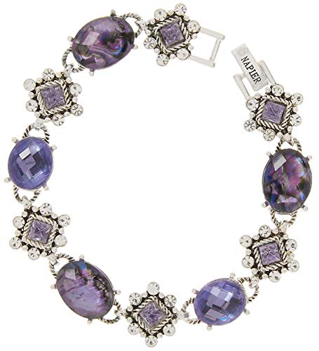 Purple Abalone Shell - Napier Purple Abalone Shell & Rhinestone Bracelet Purple/Silver Tone
