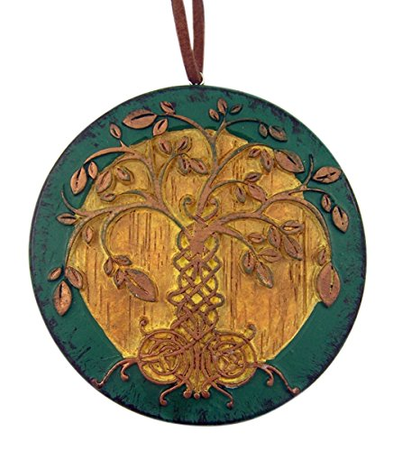 The Irish Tree of Life Wood Toned Resin Celtic Ornament with God Bless Our Irish Family Back, 3 inch ()