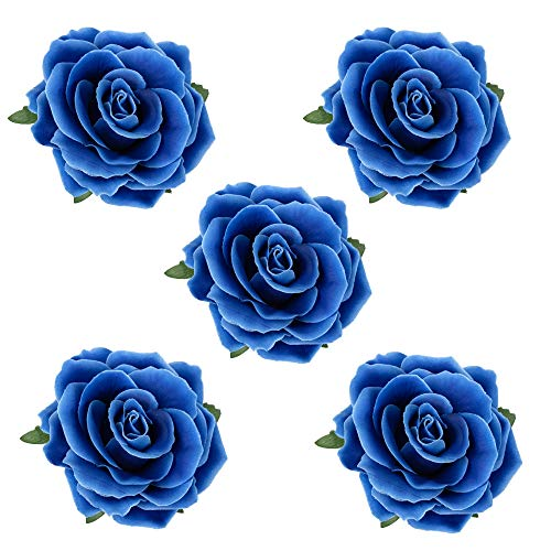 HOPEANT 5 Pcs Big Rose Flower Hair Clips Brooch Pins Accessories for Women Girl Bridal BXH35-5 (Royal Blue)