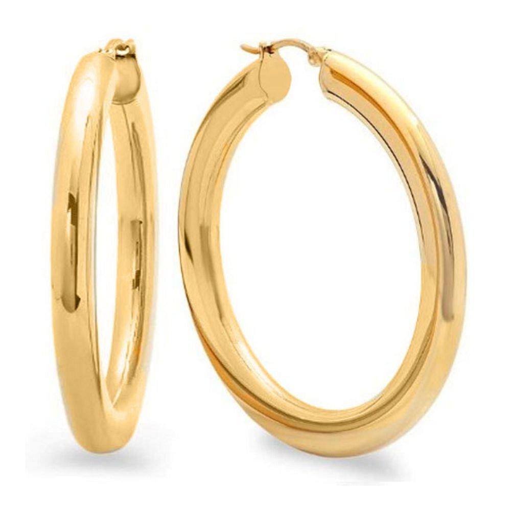 2 Inches Wide Stainless Steel Yellow Hoop Earrings
