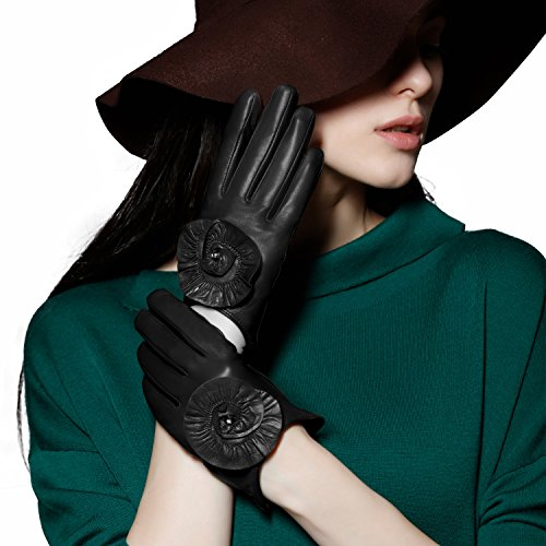 GSG Womens Stylish 3D Flower Touchscreen Italian Genuine ...