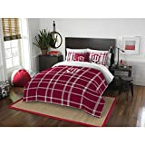 3 Piece NCAA Terre Haute Indiana Full Comforter Set, Red White, Sports Patterned Bedding, Featuring Team Logo, Indiana Merchandise, Team Spirit, College Football Themed, Polyester Material