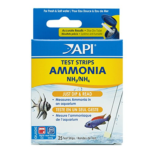 API Ammonia Test Strips Freshwater & Saltwater Aquarium Water Test Strips 25-Test Box ()