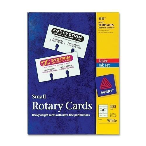 Avery Laser/Inkjet Rotary Cards, 2-1/8''x4'', 8/Sht, 400/BX, White (5385)