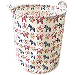 Large Storage Bin Swedish Dala Horse Fabric - Toy Box/ Toy Storage