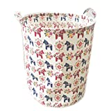 ECOHIP Large Storage Bin Swedish Dala Horse Fabric - Toy Box/ Toy Storage/ Toy Organizer for Boys and Girls - Kids Laundry Basket/ Nursery Hamper