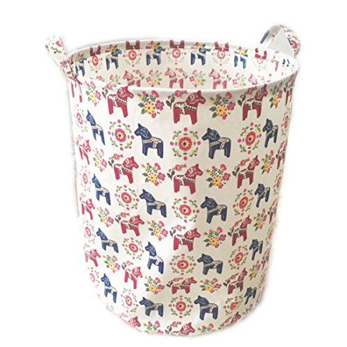 ECOHIP Large Toy Storage Bin Dala Horse Fabric Cubes Kids Laundry Basket Nursery ()
