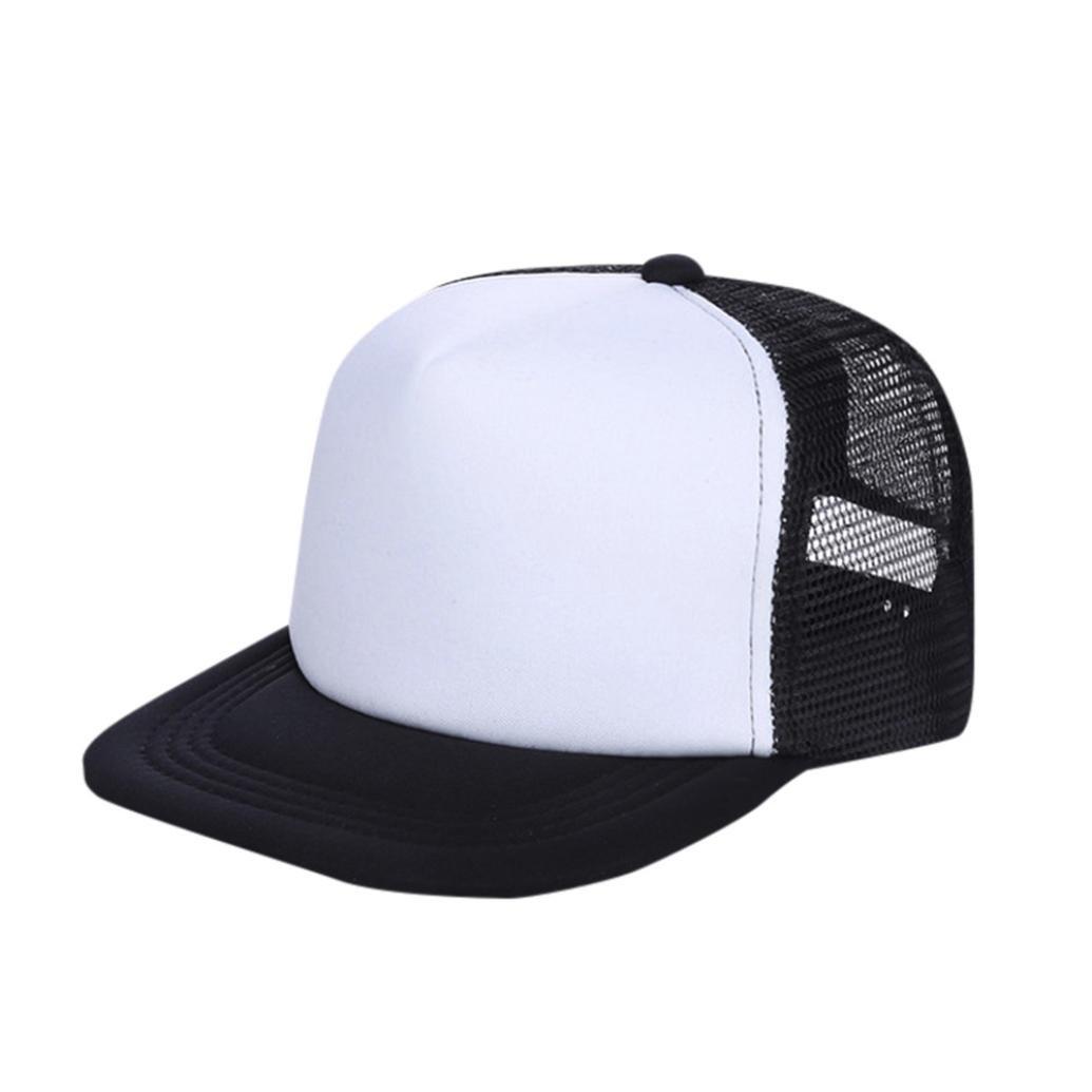 WARMSHOP Boys Girls Solid Mesh Breathable Peaked Baseball Cap Adjustable Kids Play Summertime Sun Protective Caps (Black)