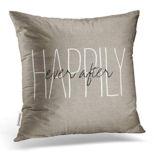 Emvency Square 20x20 Inches Decorative Pillowcases love rustic chic happily ever after lumbar pillow Cotton Polyester Decor Throw Pillow Cover With Hidden Zipper For Bedroom Sofa