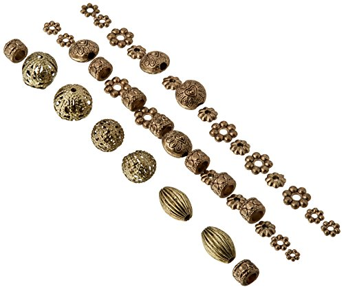 Darice 40-Piece Metal Spacer Beads, Assorted Shapes, Antique - Metal Gold Bead Antique