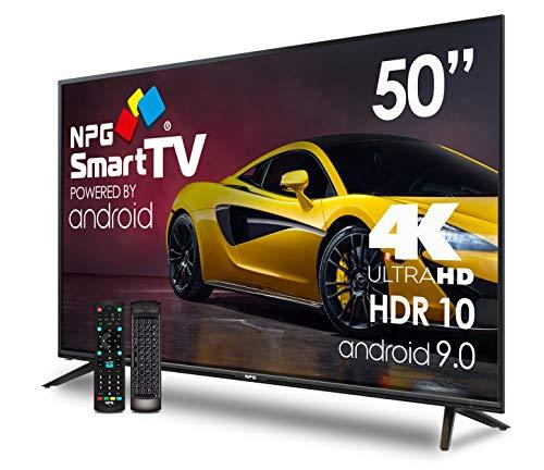 NPG 530L50UQ 4K 2020-50″4K UHD Smart TV met afstandsbediening met QWERTY-toetsenbord en MOTION-functie, Android 9.0, Quad Core, WiFi, DVB-T2/C, PVR, Screen Mirroning, Smart TV Multi Taal