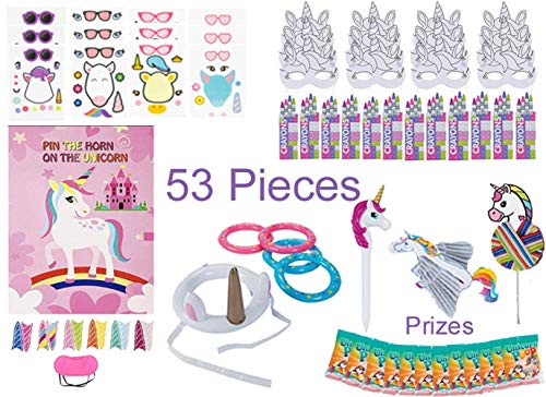 Unicorn Party Favors, Games & Activity Set for 12 Kids – 53 Pcs – Novelty Toys – Pin the Horn on the Unicorn & Ring Toss Game, Make a Unicorn -