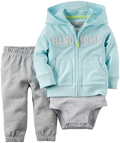 (Carter's Baby Boys' 2 Piece Cardigan Set 121g371, Handsome, New Born)