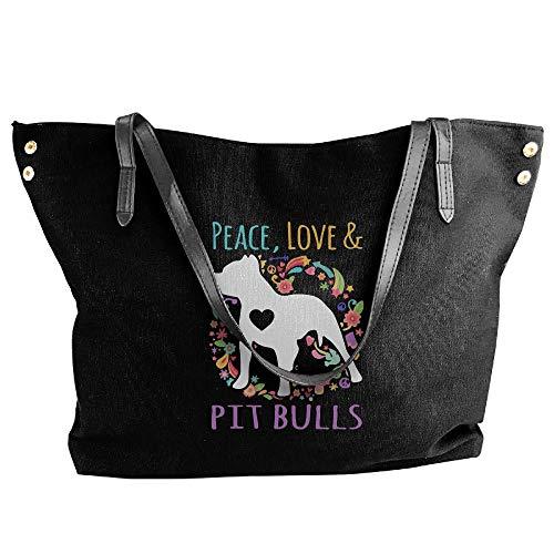 Shoulder Love Handbag Bag Bulls Handbag Canvas Hobo Women's Black And Large Peace Pit Tote Tote 1qtxqUYP