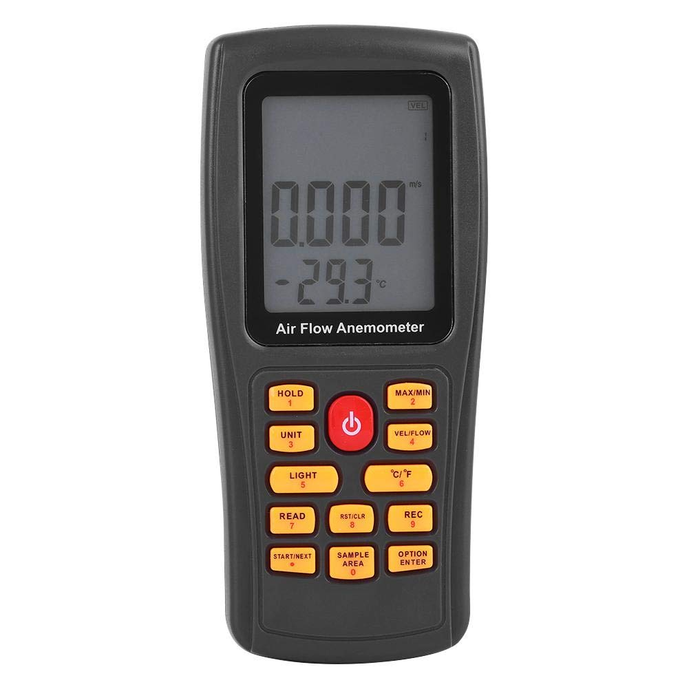 GM8902 Handheld Digital Wind Speed Meter Gauge Anemometer Thermometer for Air Velocity, Air Flow, Temperature with Backlight LCD Display Wal front