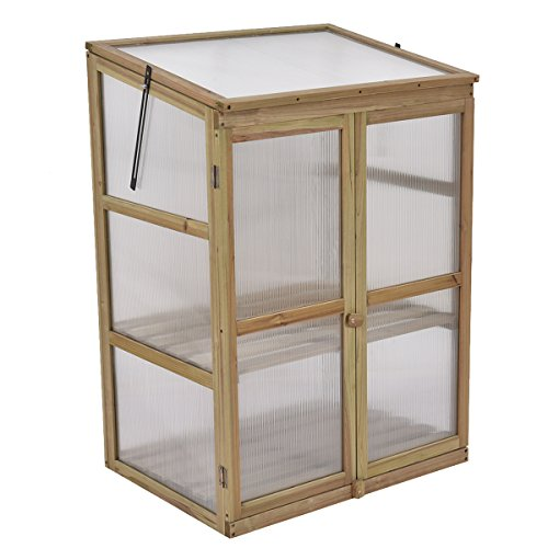 Giantex Garden Portable Wooden Cold Frame Greenhouse Raised Flower ...