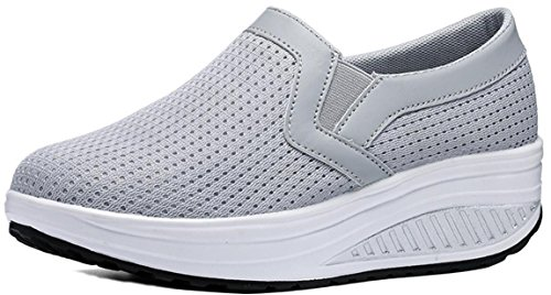 Platform Sneakers Women Mesh, Wedges Mid-Heel Casual Work Loafer Shoes 4 Colors Size 5-9.5 Grey