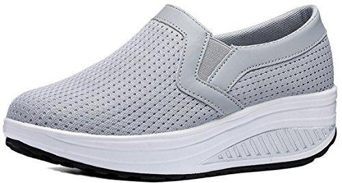 Plattform Sneakers Kvinnor Mesh, Kilar Mid-häl Tillfälligt Arbete Dagdrivaren Skor 4 Färger Storlek 5-9,5 Grå