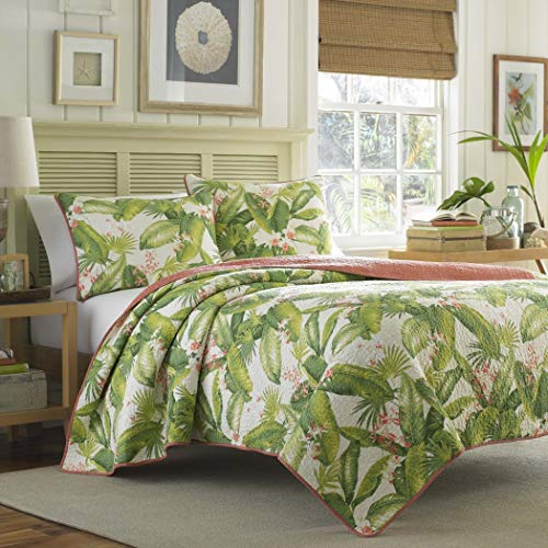3 Piece Beautiful Green White Orange Full Queen Quilt Set, Tropical Palm Tree Floral Reversible Themed Bedding Leaves Leafy Hawaiian Vintage Flowers Cottage Cabin Summer Fun Flower Beach, Cotton