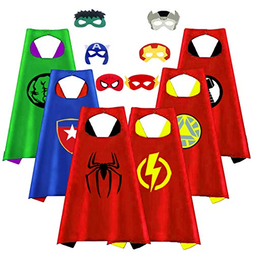 (Superhero Capes for Kids, Party Favors for Boys Toddlers Costumes Party Supplies Reversible for Boys Girls Dress up Gifts for 3-12 Year Old Boys Toys for 3-10 Year Old Boys)