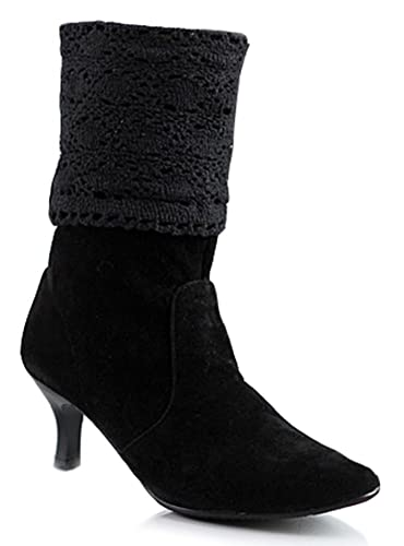 17072e256607 SFNLD Women s Trendy Pointy Toe Hollow Out Casual Kitten Heel Mid Calf  Boots Black 4 B
