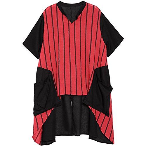 Camiseta V Floja Xm Larga Lino Moda Rayas Y Promedio Cosiendo De Mx Largo Con Rojo Corta Camisa Verano Mujer código Manga Algodón negro En Verticales Cuello qzFHA8