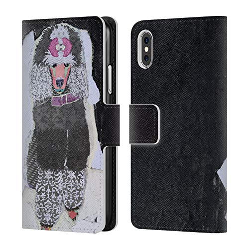Official Michel Keck Poodle Dogs 4 Leather Book Wallet Case Cover for iPhone X/iPhone Xs ()