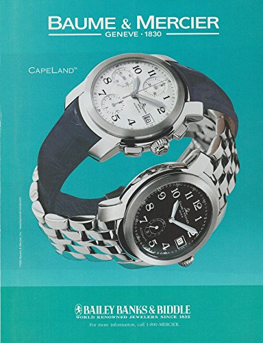 *PRINT AD* 2000 BAUME & MERCIER CAPELAND WATCH PRINT COLOR AD CLIPPING - USA - BEAUTIFUL ORIGINAL !! (AUD)