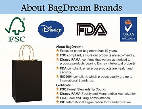 Kraft Bags Shopping Bag BagDream Kraft Paper Bags 25Pcs 5.25x3.75x8 Black Bags with Handles Rose
