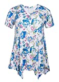 ZERDOCEAN Women Plus Size Printed Short Sleeves Tunic Tops Flowy T Shirt Style-813 4X