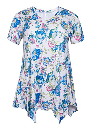 ZERDOCEAN Women Plus Size Printed Short Sleeves Tunic Tops Flowy T Shirt Style-813 4X by ZERDOCEAN