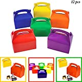 Adorox 12 Assorted Bright Rainbow Colors Cardboard Favor Boxes Treat Goody Bags Children Birthday Party Event Gift