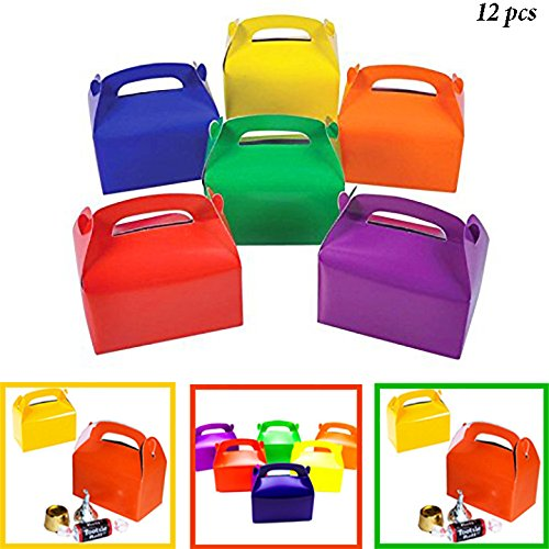 Adorox 12 Assorted Bright Rainbow Colors Cardboard Favor Boxes Treat Goody Bags Children Birthday Party Event Gift (Rainbow Bag Kids)