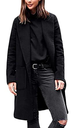 ab4d9edf8fa ONTBYB Women s Winter Solid Outerwear Single-Breasted Long Wool-Blend Coat  Black M