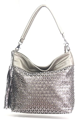 Zzfab Laser Cut Circle Sparkle Hobo Bag Pewter / Silver (Circle Hobo Bag)