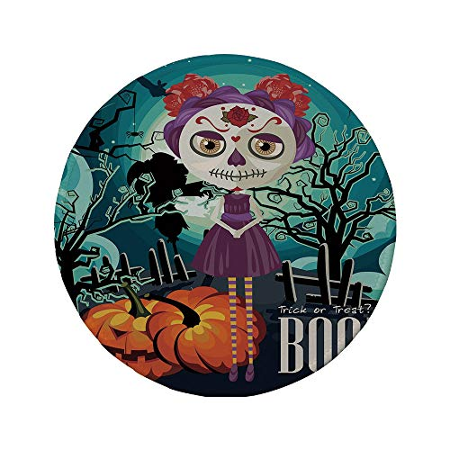 Non-Slip Rubber Round Mouse Pad,Halloween,Cartoon Girl with Sugar Skull Makeup Retro Seasonal Artwork Swirled Trees Boo Decorative,Multicolor,7.87