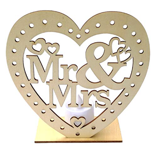 Susada Wooden Mr & Mrs Heart Wood Home Sign Decor,Romantic Pendant with LED Candle Light Wedding Decor Freestanding Cutout Table Decor Centerpiece DIY Ornament