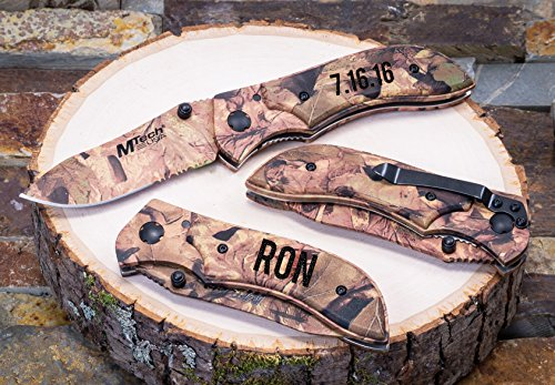 Personalized Camo Knife Custom Pocket Knives- Engraved Groomsmen Camouflage Gift Groomsman Husband Hunting Man Mens Boyfriend Wedding Gifts Folding Blade Rustic Buck Knifes Spring Assisted Opening