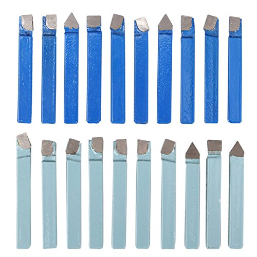 HITSAN 20pcs 1/4 Inch Carbide Tip Lathe Metal Cutter Bit Cutting Turning Tool Set One Piece -  1208404