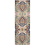 Safavieh Bella Collection BEL118A Handmade Ivory and Blue Premium Wool Runner (2'3'' x 11')