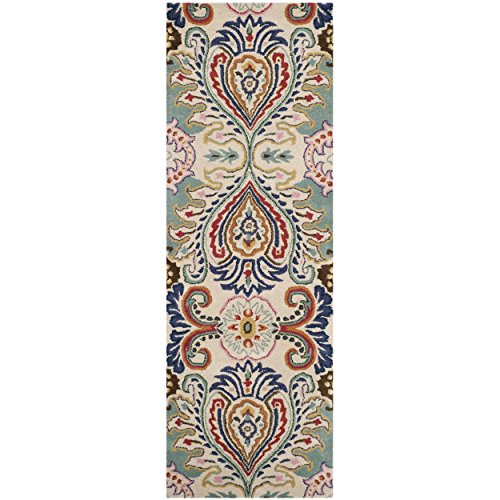 Safavieh Bella Collection BEL118A Handmade Ivory and Blue Premium Wool Runner (2'3'' x 11') by Safavieh