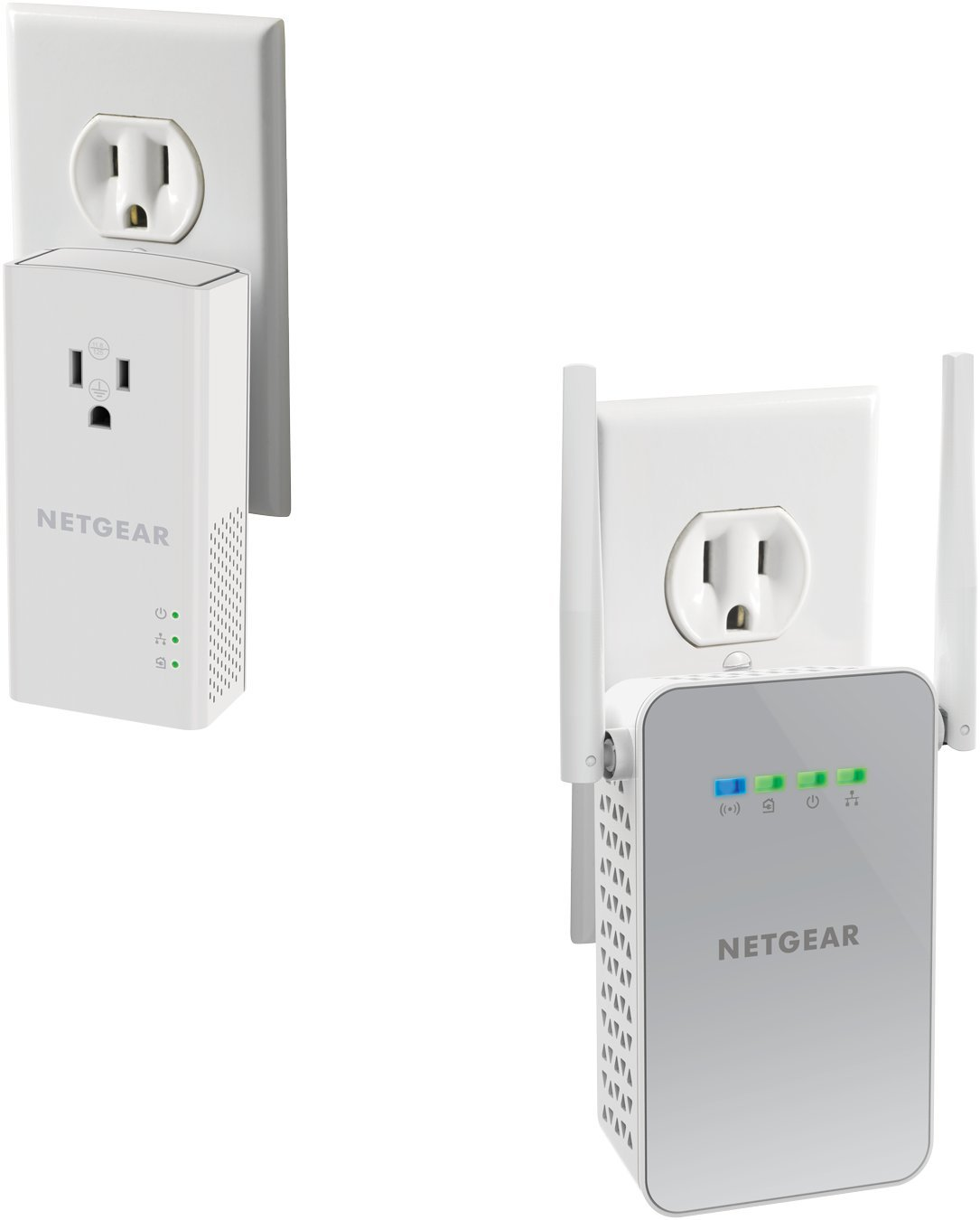 NETGEAR PowerLINE Wi-Fi 1000 + Extra Outlet, White (PLPW1000-100NAS) by NETGEAR