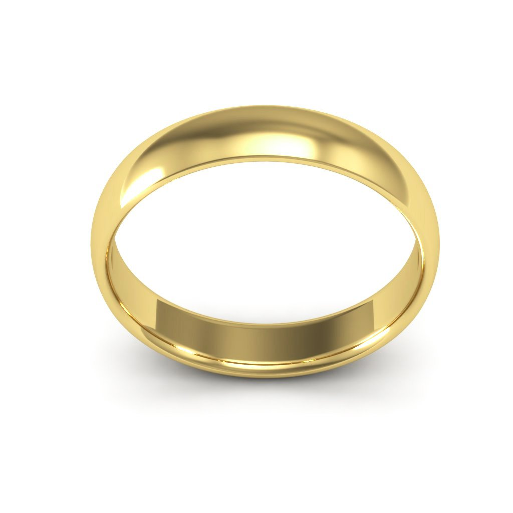 14K Yellow Gold men's and women's plain wedding bands 4mm comfort-fit light, 5.25 by i Wedding Band (Image #3)