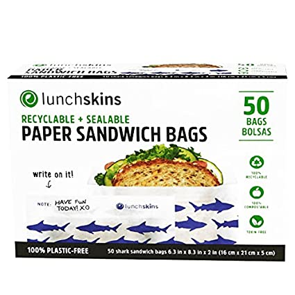 Lunchskins Recyclable + Sealable Paper Sandwich & Snack Bags, Shark, 50 Ct RB-50-SAND-SHARK