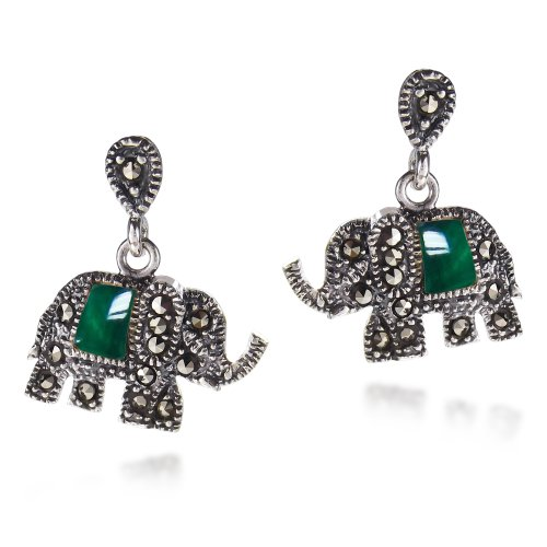 Royal Elephant Quartz and Marcasite Style Pyrite .925 Sterling Silver Stud Earrings