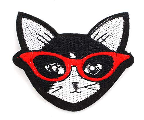 1pc Black Cat in Glasses Iron On Sew-on Embroidered Sewing Applique Patch DIY Art Gift Costume Badge for Jeans Jacket Clothes 65mm x 55mm
