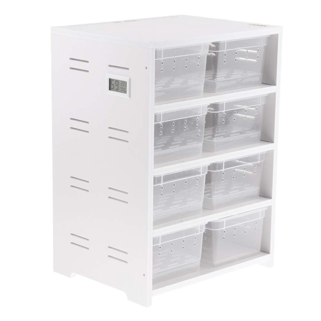 LOVIVER PVC Breeding Cabinet for Reptile in Winter Reptile Terrarium 8 Breeding Boxes - White, as described by LOVIVER