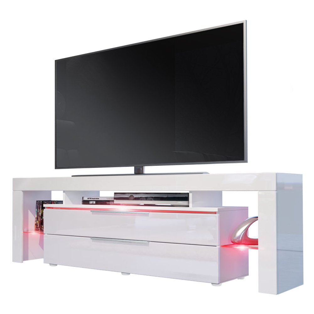 Tv Stand Unit Lima Nova Carcass In White Matt Front In White  # Meuble Bas Tv But